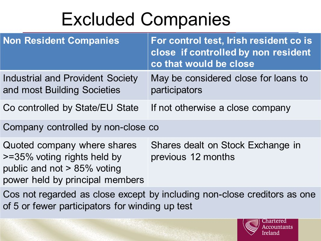 Excluded Companies Non Resident CompaniesFor control test, Irish resident co is close if controlled by non resident co that would be close Industrial and Provident Society and most Building Societies May be considered close for loans to participators Co controlled by State/EU StateIf not otherwise a close company Company controlled by non-close co Quoted company where shares >=35% voting rights held by public and not > 85% voting power held by principal members Shares dealt on Stock Exchange in previous 12 months Cos not regarded as close except by including non-close creditors as one of 5 or fewer participators for winding up test