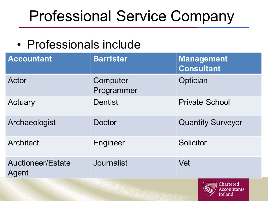 Professional Service Company Professionals include AccountantBarristerManagement Consultant ActorComputer Programmer Optician ActuaryDentistPrivate School ArchaeologistDoctorQuantity Surveyor ArchitectEngineerSolicitor Auctioneer/Estate Agent JournalistVet