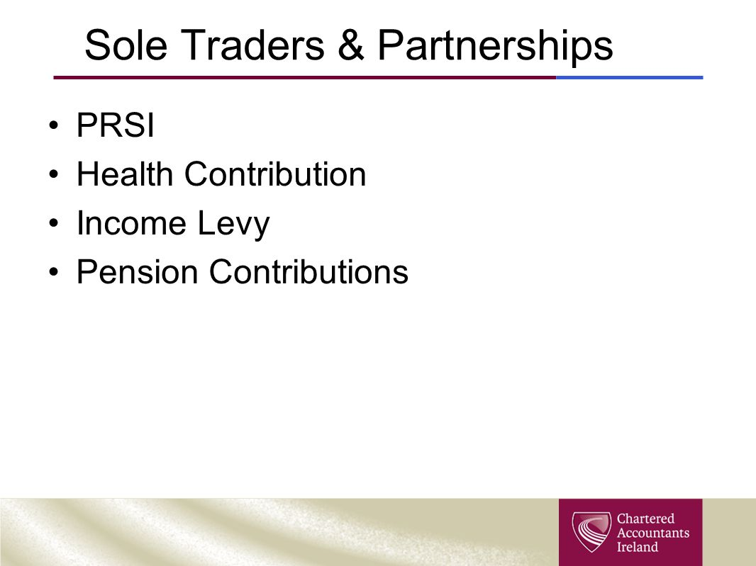 Sole Traders & Partnerships PRSI Health Contribution Income Levy Pension Contributions