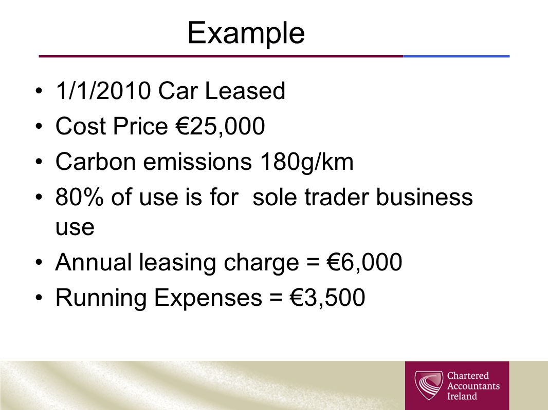 Example 1/1/2010 Car Leased Cost Price €25,000 Carbon emissions 180g/km 80% of use is for sole trader business use Annual leasing charge = €6,000 Runn
