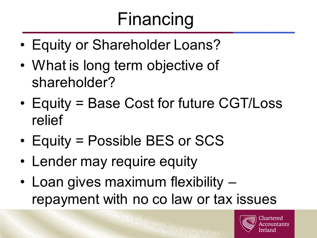 Financing Equity or Shareholder Loans. What is long term objective of shareholder.