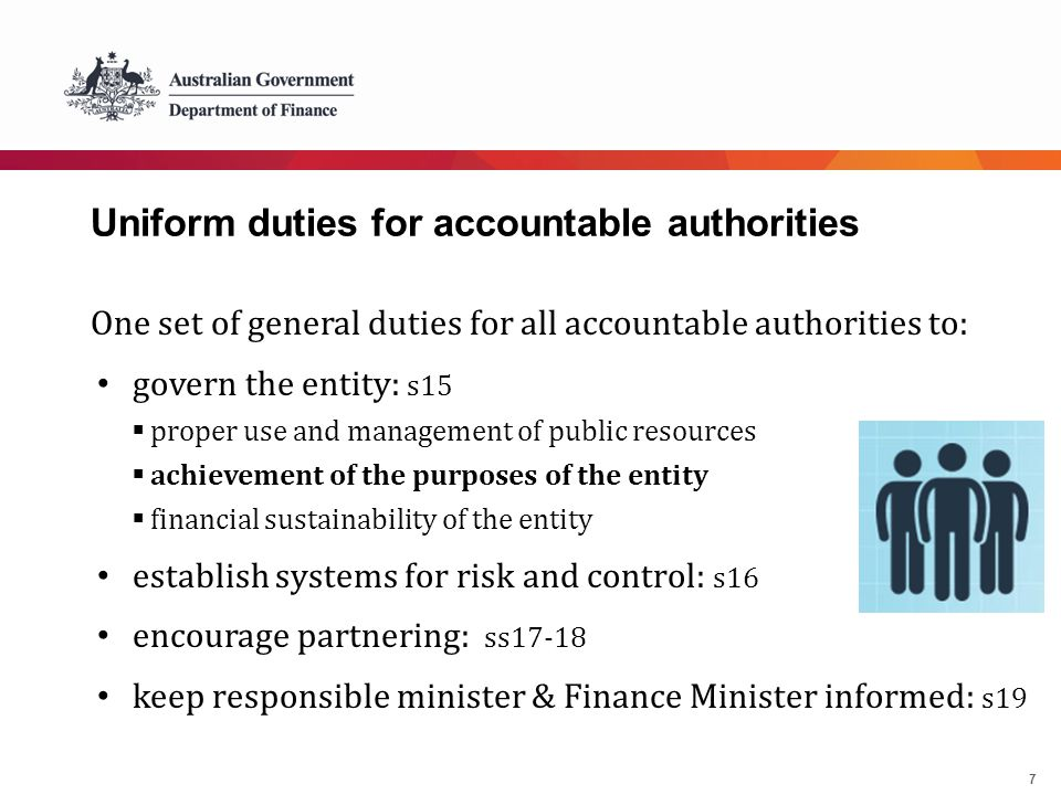 7 Uniform duties for accountable authorities One set of general duties for all accountable authorities to: govern the entity: s15  proper use and man