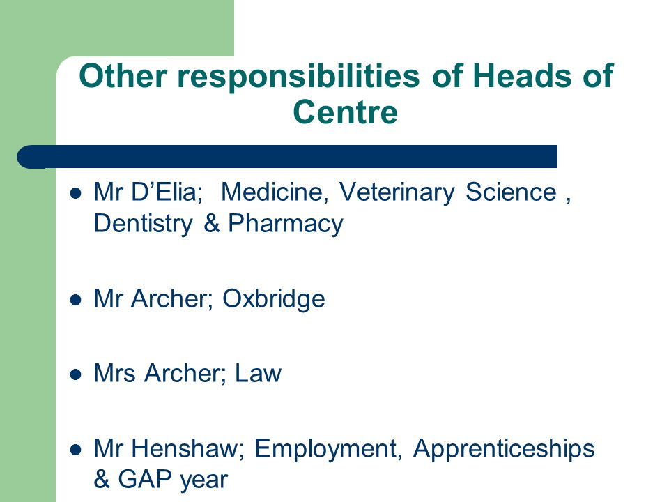 Other responsibilities of Heads of Centre Mr D'Elia; Medicine, Veterinary Science, Dentistry & Pharmacy Mr Archer; Oxbridge Mrs Archer; Law Mr Henshaw; Employment, Apprenticeships & GAP year