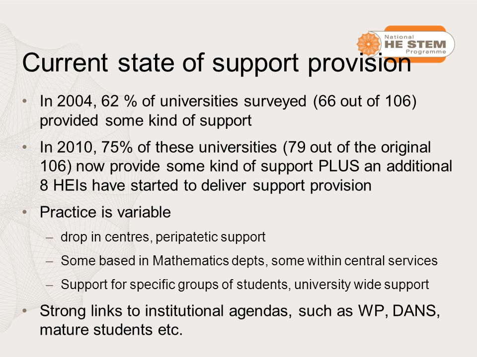 Current state of support provision In 2004, 62 % of universities surveyed (66 out of 106) provided some kind of support In 2010, 75% of these universities (79 out of the original 106) now provide some kind of support PLUS an additional 8 HEIs have started to deliver support provision Practice is variable –drop in centres, peripatetic support –Some based in Mathematics depts, some within central services –Support for specific groups of students, university wide support Strong links to institutional agendas, such as WP, DANS, mature students etc.
