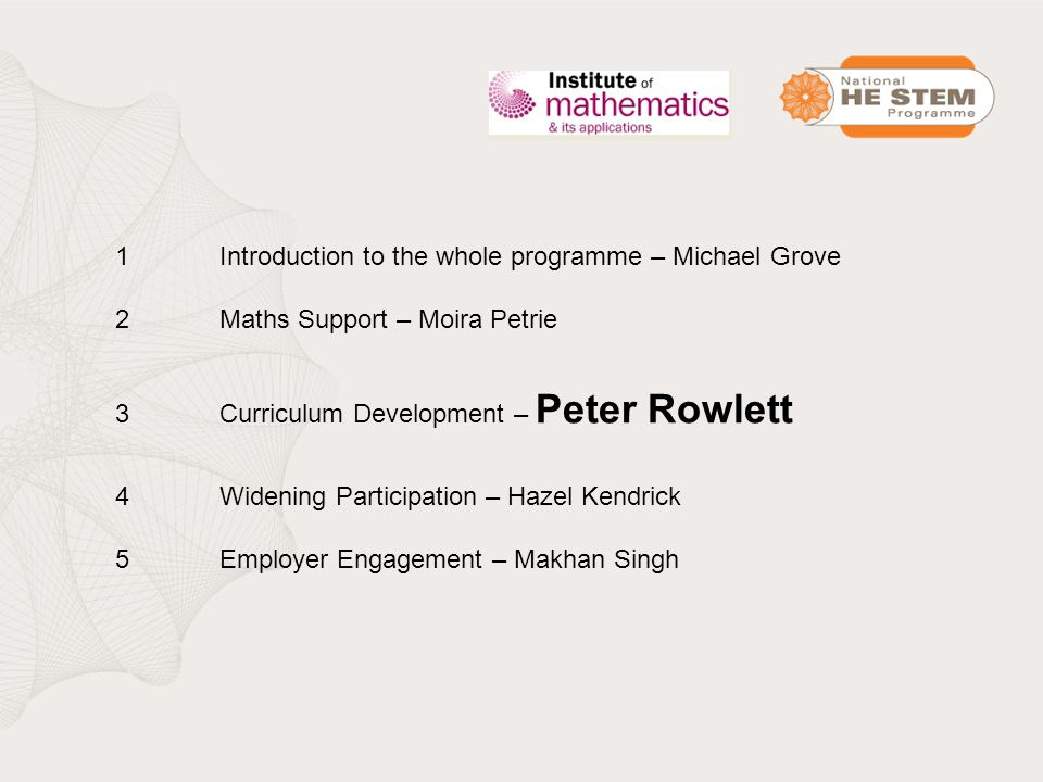 1Introduction to the whole programme – Michael Grove 2Maths Support – Moira Petrie 3Curriculum Development – Peter Rowlett 4Widening Participation – Hazel Kendrick 5Employer Engagement – Makhan Singh