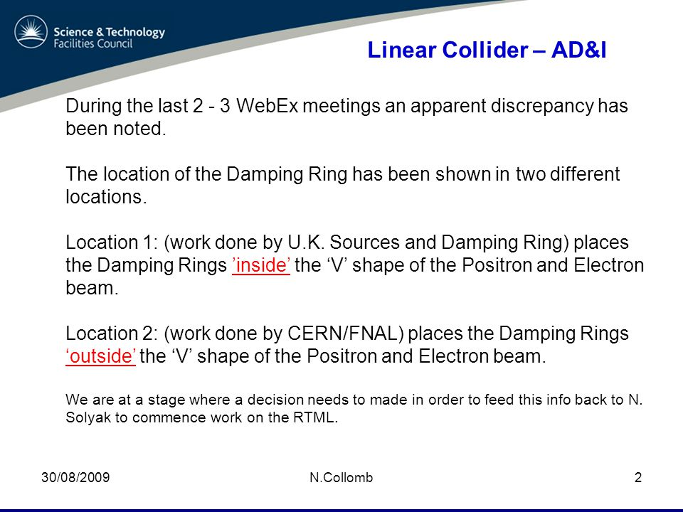 03/09/2009 N.Collomb23 Linear Collider – AD&I Discussion Summary E+ Main Linac E- Main Linac Z-Axis X-Axis I.P.