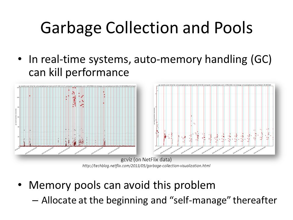 Garbage Collection and Pools In real-time systems, auto-memory handling (GC) can kill performance Memory pools can avoid this problem – Allocate at the beginning and self-manage thereafter gcviz (on NetFlix data) http://techblog.netflix.com/2013/05/garbage-collection-visualization.html