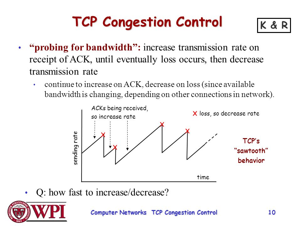 """TCP Congestion Control """"probing for bandwidth"""": increase transmission rate on receipt of ACK, until eventually loss occurs, then decrease transmission"""