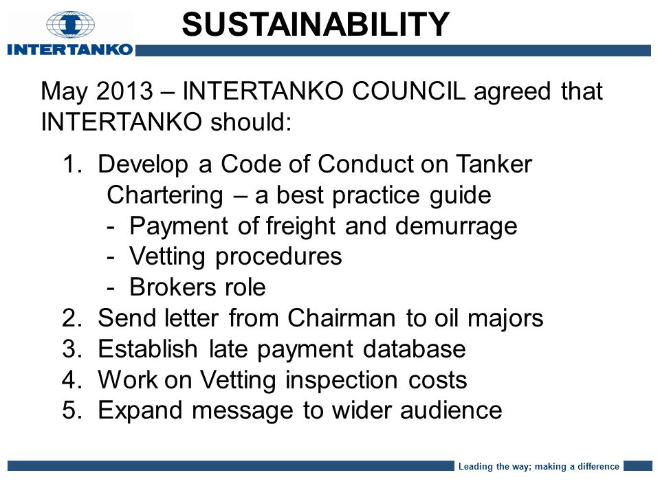 Leading the way; making a difference May 2013 – INTERTANKO COUNCIL agreed that INTERTANKO should: 1.