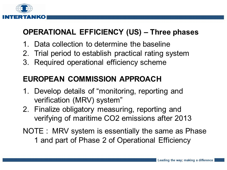 Leading the way; making a difference OPERATIONAL EFFICIENCY (US) – Three phases 1.