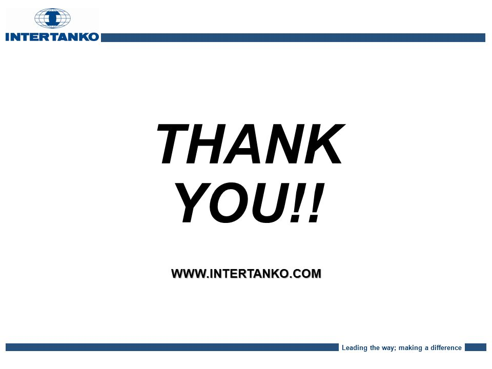 Leading the way; making a difference THANK YOU!!WWW.INTERTANKO.COM