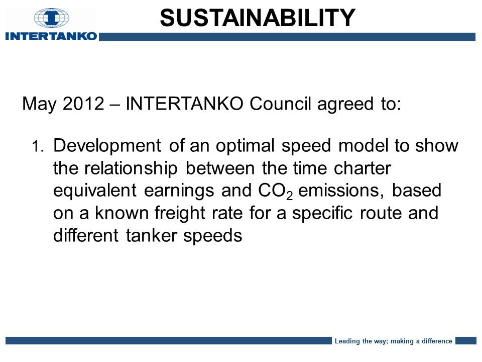 Leading the way; making a difference TC equivalent and emission at various speeds $/day Tonnes CO2 emission