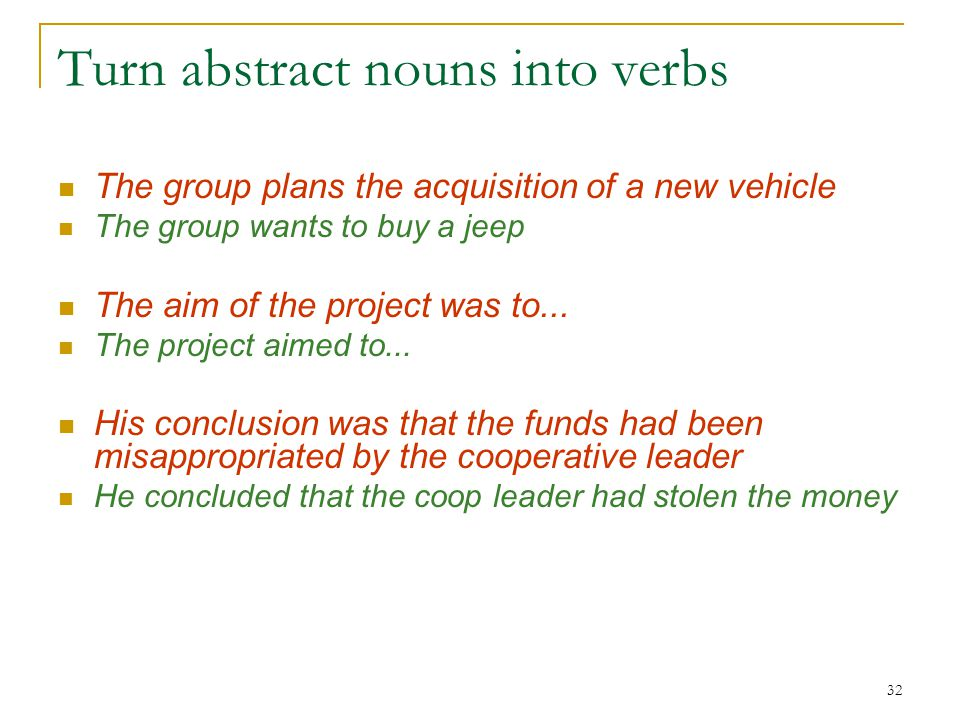 32 Turn abstract nouns into verbs The group plans the acquisition of a new vehicle The group wants to buy a jeep The aim of the project was to...