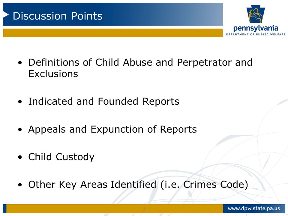 Definitions of Child Abuse and Perpetrator and Exclusions Indicated and Founded Reports Appeals and Expunction of Reports Child Custody Other Key Areas Identified (i.e.