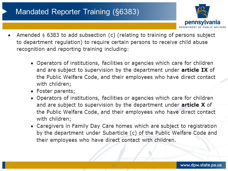 45 Amended § 6383 to add subsection (c) (relating to training of persons subject to department regulation) to require certain persons to receive chil