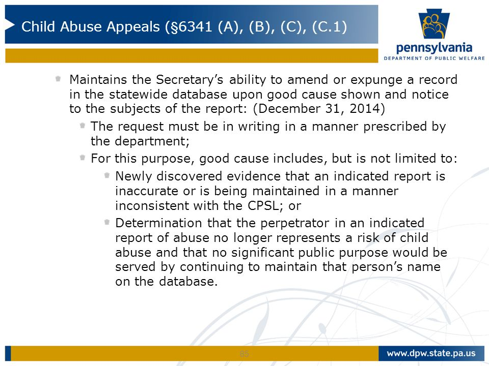 Maintains the Secretary's ability to amend or expunge a record in the statewide database upon good cause shown and notice to the subjects of the repor
