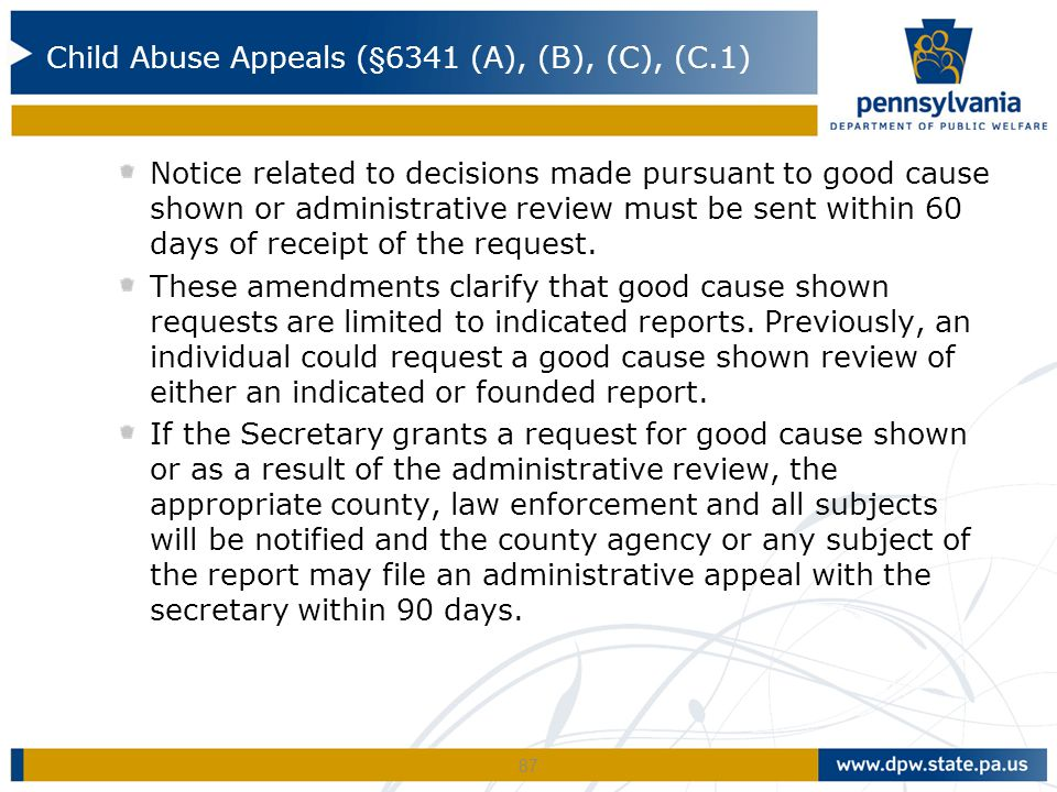 Notice related to decisions made pursuant to good cause shown or administrative review must be sent within 60 days of receipt of the request. These am