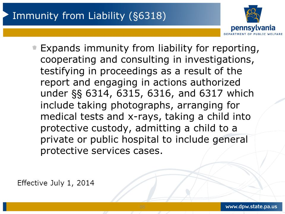 Expands immunity from liability for reporting, cooperating and consulting in investigations, testifying in proceedings as a result of the report and e