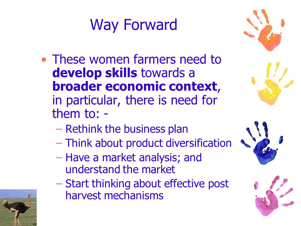 Way Forward These women farmers need to develop skills towards a broader economic context, in particular, there is need for them to: - –Rethink the bu
