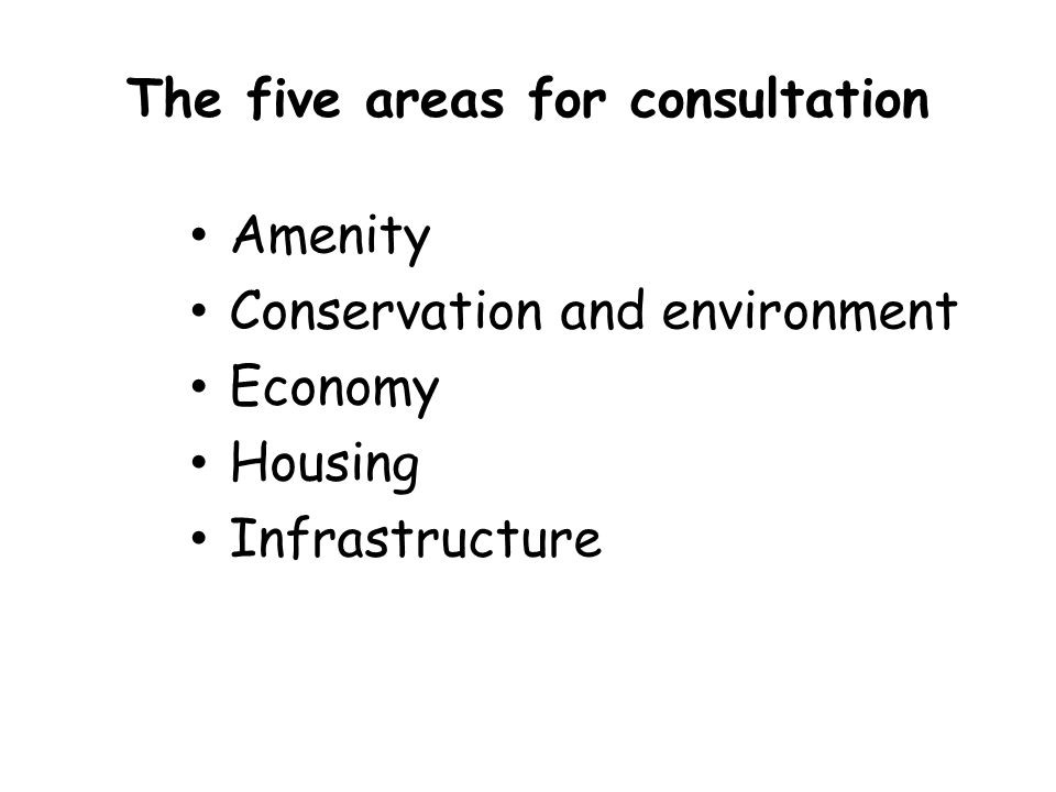 The five areas for consultation Amenity Conservation and environment Economy Housing Infrastructure