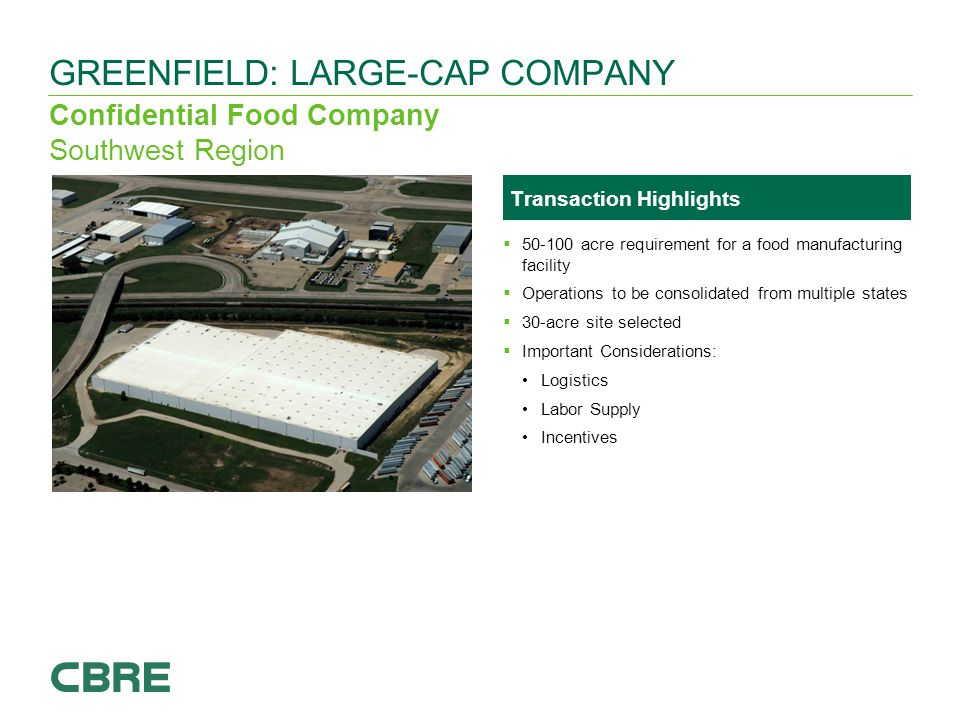Confidential Food Company Southwest Region GREENFIELD: LARGE-CAP COMPANY To add an image, click on the picture placeholder icon Windows Explorer will open, find your required image and click 'Insert'.