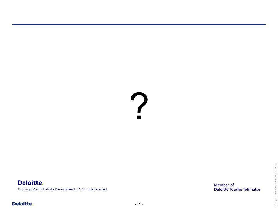 - 21 - MU Stage 2 Final Rule Webinar #2 Held 090512 v7 FINAL.pptx Copyright © 2012 Deloitte Development LLC.