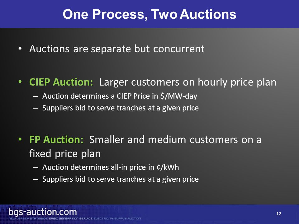 One Process, Two Auctions Auctions are separate but concurrent CIEP Auction: CIEP Auction: Larger customers on hourly price plan – Auction determines a CIEP Price in $/MW-day – Suppliers bid to serve tranches at a given price FP Auction: FP Auction: Smaller and medium customers on a fixed price plan – Auction determines all-in price in ¢/kWh – Suppliers bid to serve tranches at a given price 12