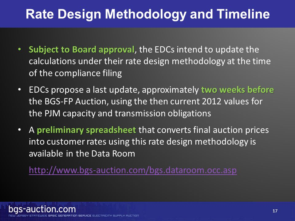 Rate Design Methodology and Timeline Subject to Board approval Subject to Board approval, the EDCs intend to update the calculations under their rate