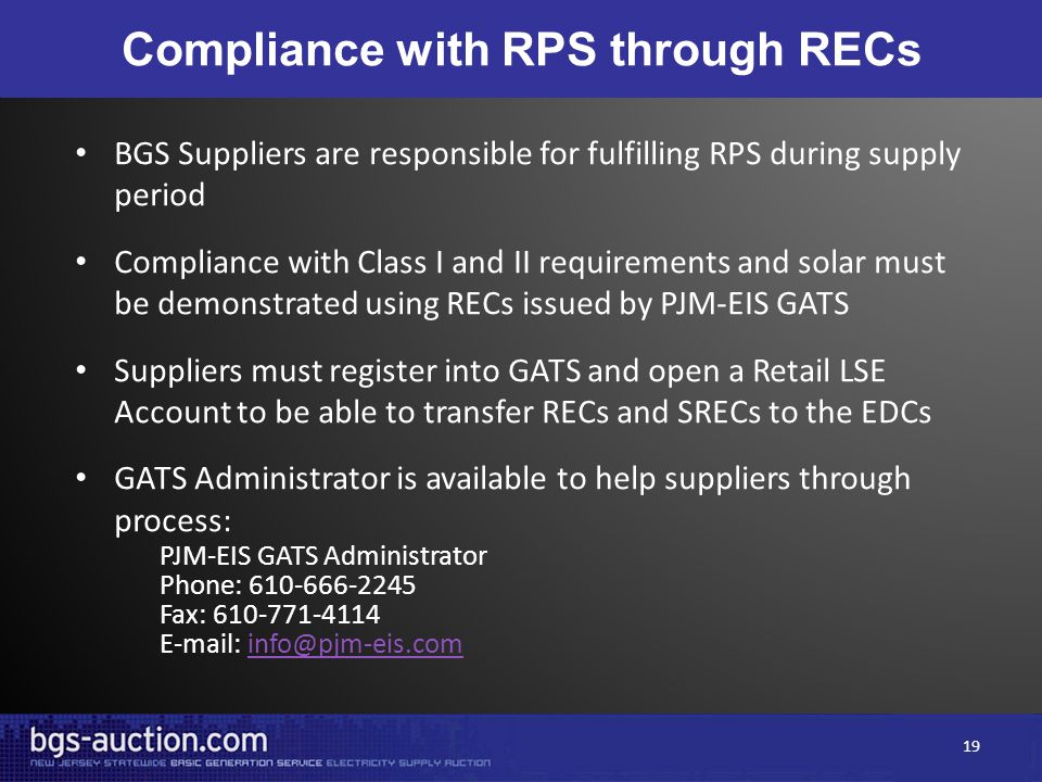Compliance with RPS through RECs BGS Suppliers are responsible for fulfilling RPS during supply period Compliance with Class I and II requirements and