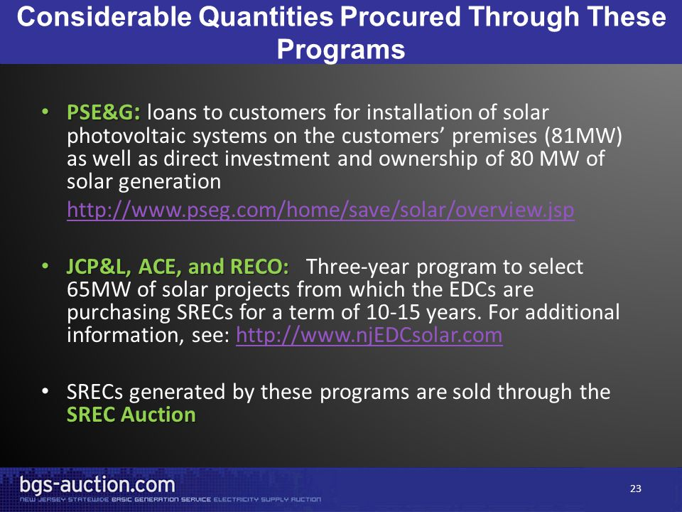 Considerable Quantities Procured Through These Programs PSE&G : PSE&G : loans to customers for installation of solar photovoltaic systems on the customers' premises (81MW) as well as direct investment and ownership of 80 MW of solar generation http://www.pseg.com/home/save/solar/overview.jsp JCP&L, ACE, and RECO: JCP&L, ACE, and RECO: Three-year program to select 65MW of solar projects from which the EDCs are purchasing SRECs for a term of 10-15 years.