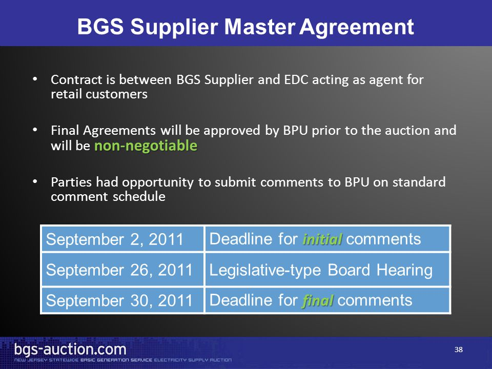 BGS Supplier Master Agreement Contract is between BGS Supplier and EDC acting as agent for retail customers non-negotiable Final Agreements will be ap