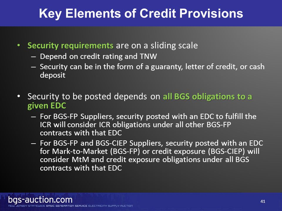 Key Elements of Credit Provisions Security requirements Security requirements are on a sliding scale – Depend on credit rating and TNW – Security can