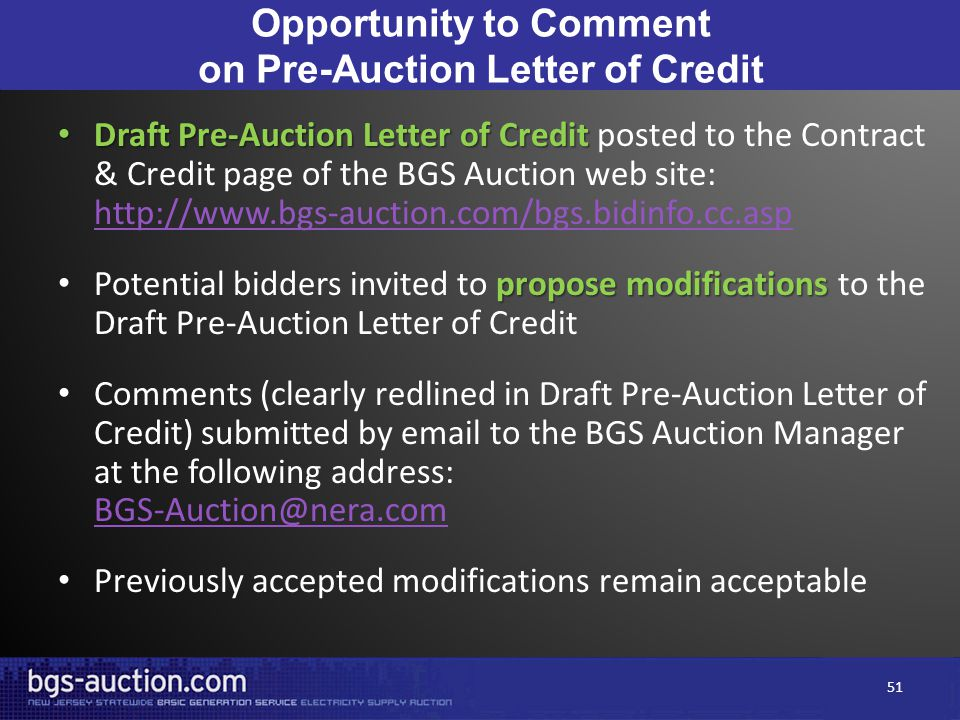 Opportunity to Comment on Pre-Auction Letter of Credit Draft Pre-Auction Letter of Credit Draft Pre-Auction Letter of Credit posted to the Contract &