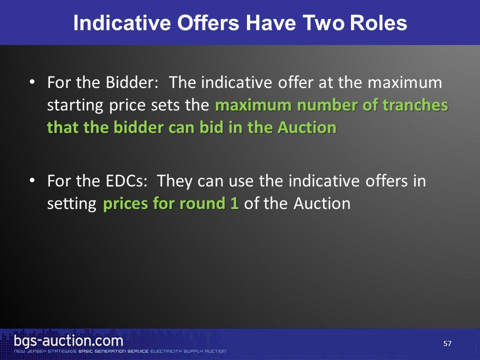 Indicative Offers Have Two Roles maximum number of tranches that the bidder can bid in the Auction For the Bidder: The indicative offer at the maximum
