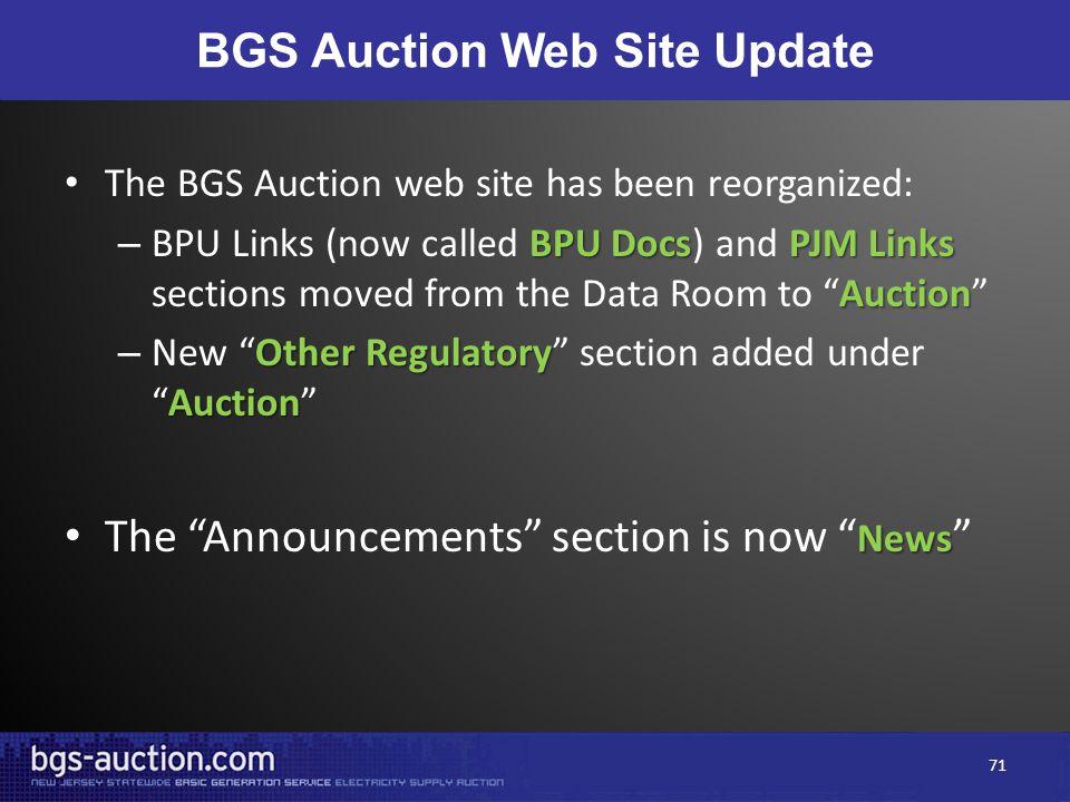 BGS Auction Web Site Update The BGS Auction web site has been reorganized: BPU DocsPJM Links Auction – BPU Links (now called BPU Docs) and PJM Links s