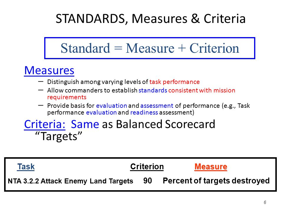 STANDARDS, Measures & Criteria Measures – Distinguish among varying levels of task performance – Allow commanders to establish standards consistent with mission requirements – Provide basis for evaluation and assessment of performance (e.g., Task performance evaluation and readiness assessment) Criteria: Same as Balanced Scorecard Targets 6 Measure Task Criterion Measure NTA 3.2.2 Attack Enemy Land Targets 90 Percent of targets destroyed Standard = Measure + Criterion