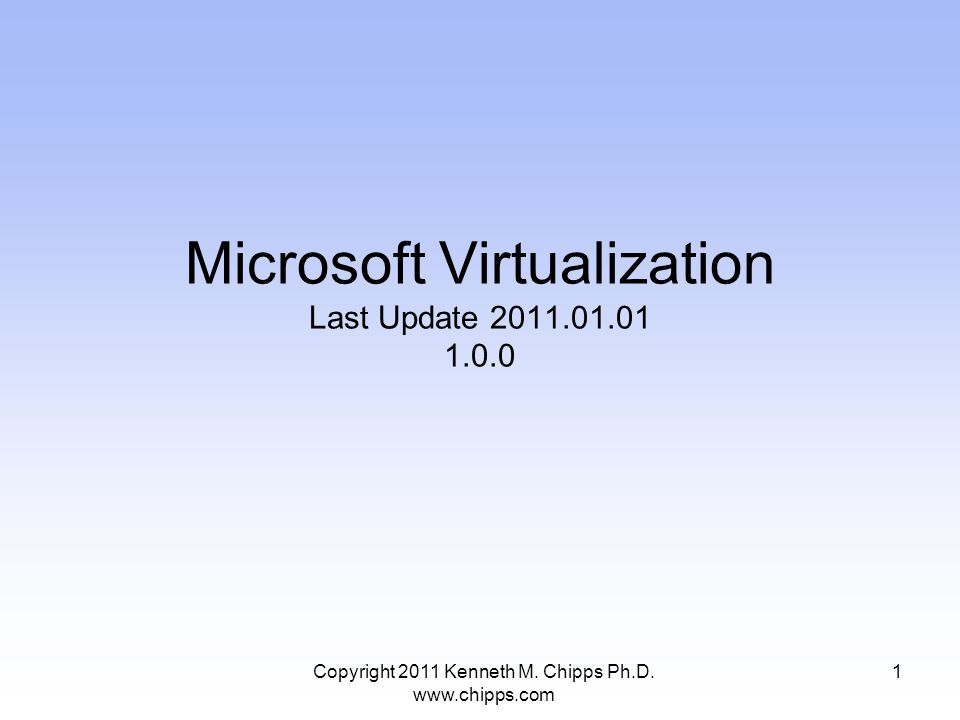 Microsoft Virtualization Last Update 2011.01.01 1.0.0 1Copyright 2011 Kenneth M.