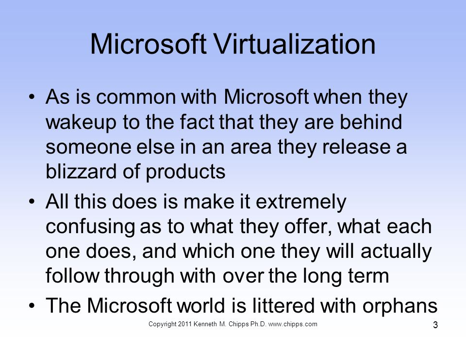 Microsoft Virtualization As is common with Microsoft when they wakeup to the fact that they are behind someone else in an area they release a blizzard of products All this does is make it extremely confusing as to what they offer, what each one does, and which one they will actually follow through with over the long term The Microsoft world is littered with orphans Copyright 2011 Kenneth M.