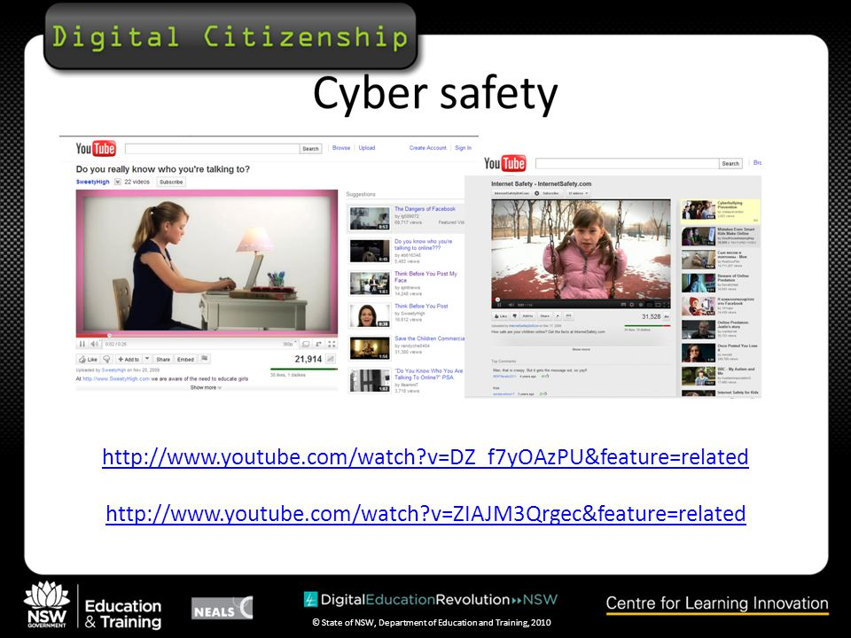 © State of NSW, Department of Education and Training, 2010 Cyber safety and privacy is only taught at the whim of individual teachers ACMA lists these topics as essential for teens: Unwanted contact, Cyberbullying, Online friends, Playing games online—keeping the balance, Digital footprint, P2P/filesharing, Inappropriate content, Financial security and online shopping, Identity theft.