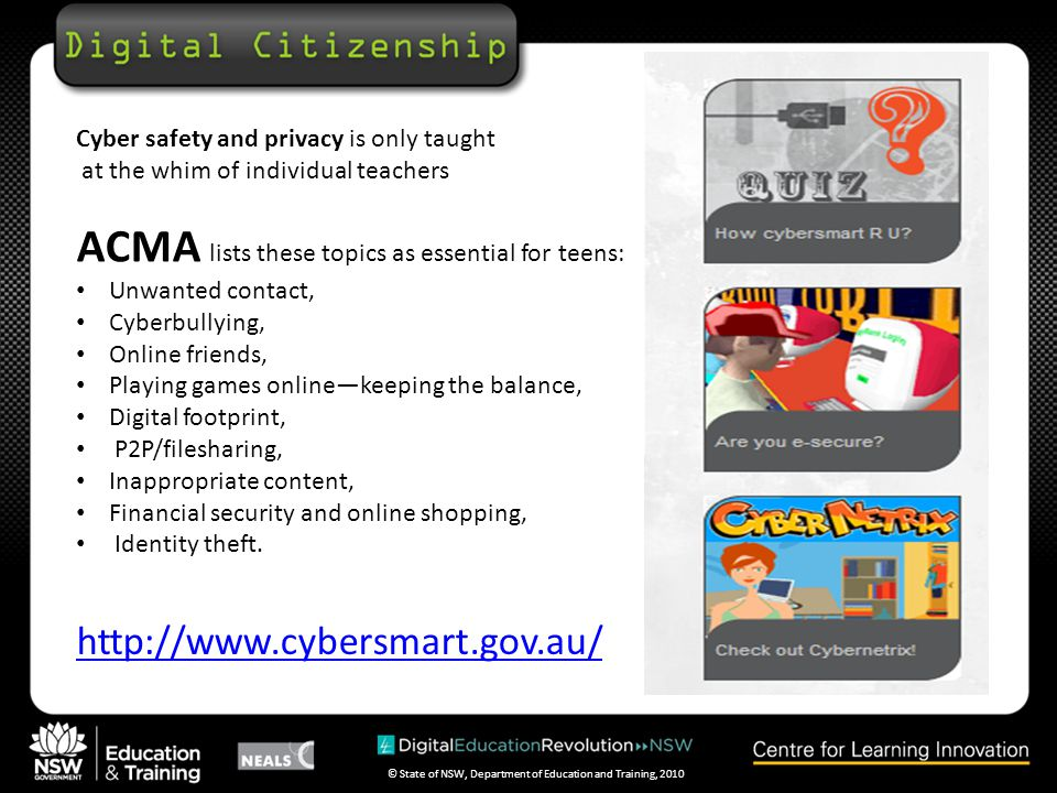 © State of NSW, Department of Education and Training, 2010 http://www.staysmartonline.gov.au
