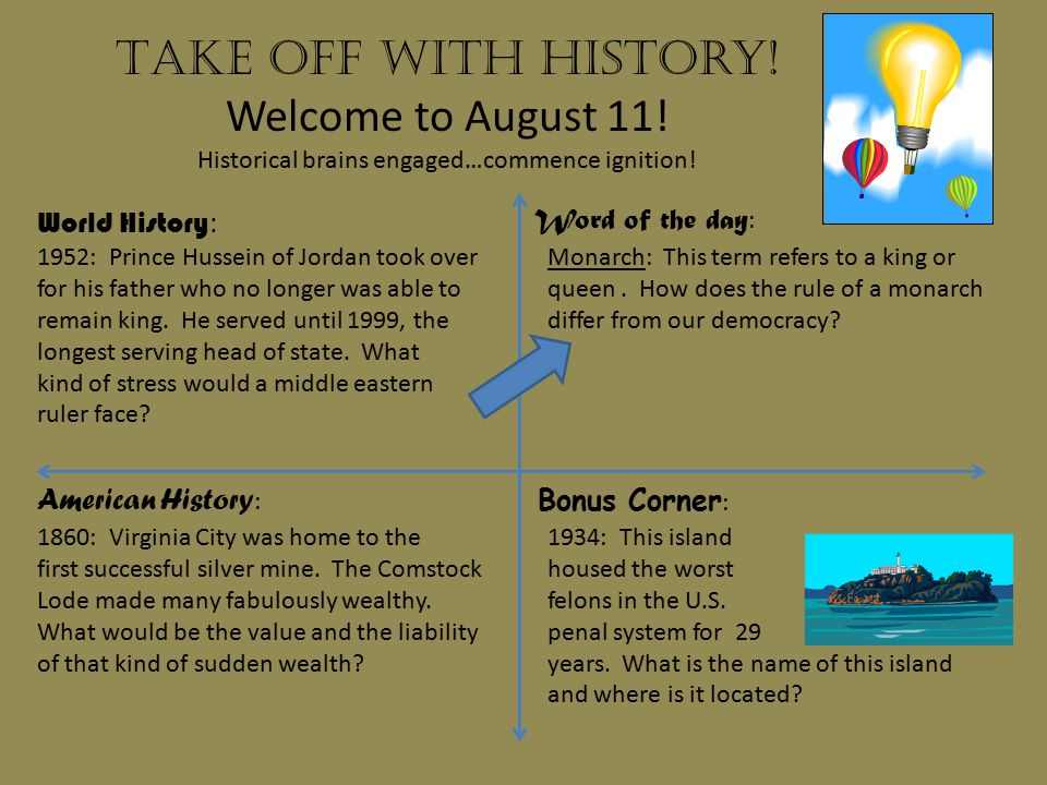 Take off with history.Welcome to August 12. Historical brains engaged…commence ignition.