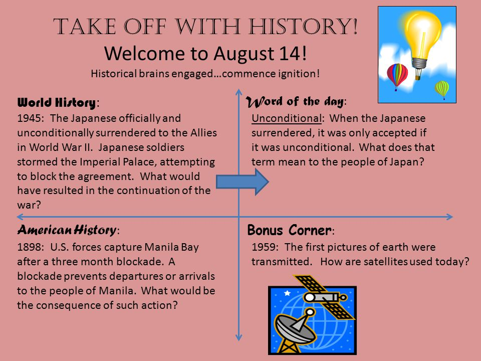 Take off with history.Welcome to August 15. Historical brains engaged…commence ignition.