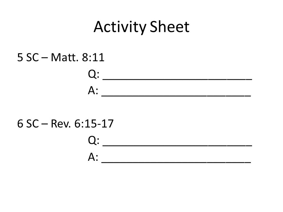 Activity Sheet 5 SC – Matt.