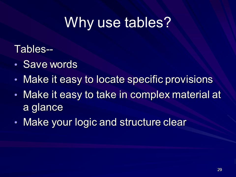 29 Why use tables? Tables-- Save words Save words Make it easy to locate specific provisions Make it easy to locate specific provisions Make it easy t