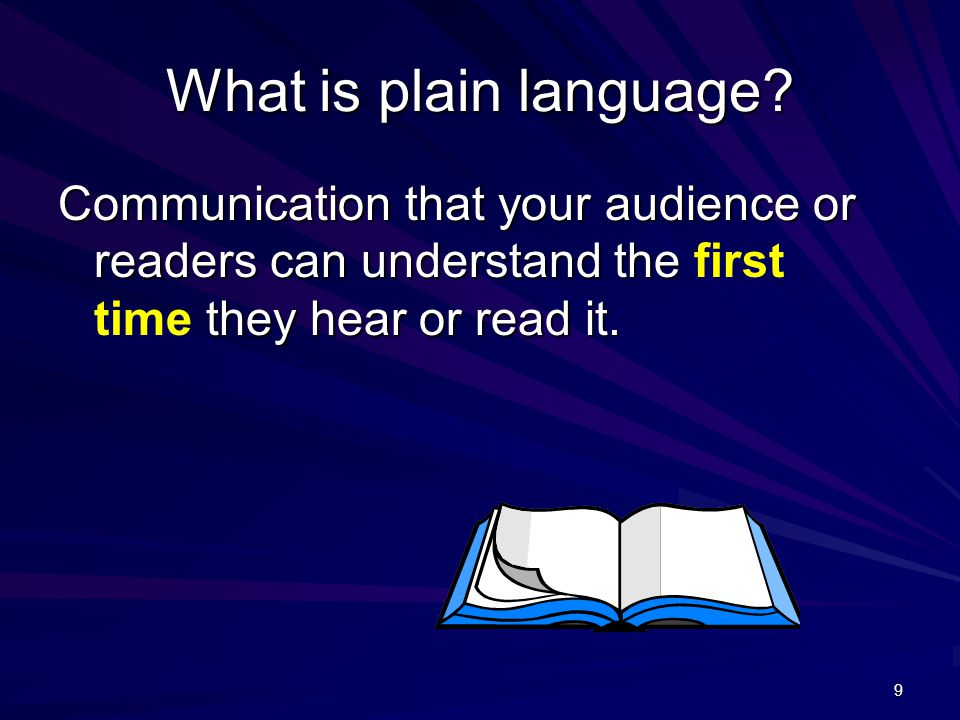 What are the main elements of plain language.