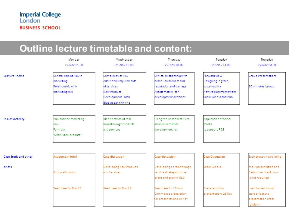 Outline lecture timetable and content: MondayWednesdayThursdayTuesdayThursday 19-Nov 11.0021-Nov 10.0022-Nov 10.0027-Nov 14.0029-Nov 10.00 Lecture ThemeCentral role of P&S inComplexity of P&SCritical relationship withForward viewGroup Presentations marketingAdditional requirementsbrand - awareness andDesigning in green, Relationship withof servicesreputation and damagesustainabilty20 minutes / group marketing mixNew ProductAnsoff matrix - forNew requirements from Development - NPDdevelopment decisionsSocial Media and P&S Blue ocean thinking In Class activityP&S and the marketingIdentification of realUsing the Ansoff matrix toApplication of Social mixbreakthrough productsassess risk of P&SMedia Formula !and servicesdevelopment riskto support P&S What is the product.