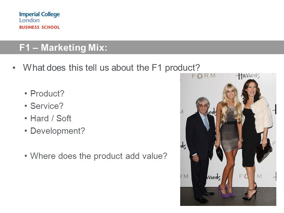 F1 – Marketing Mix: What does this tell us about the F1 product.