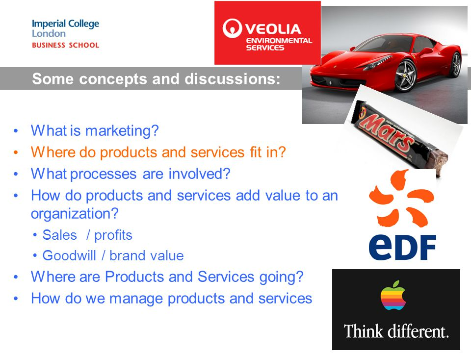 Some concepts and discussions: What is marketing. Where do products and services fit in.