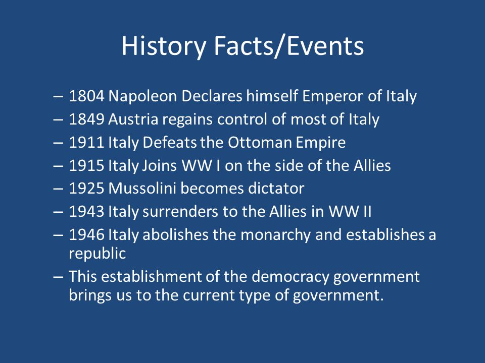 History Facts/Events – 1804 Napoleon Declares himself Emperor of Italy – 1849 Austria regains control of most of Italy – 1911 Italy Defeats the Ottoma
