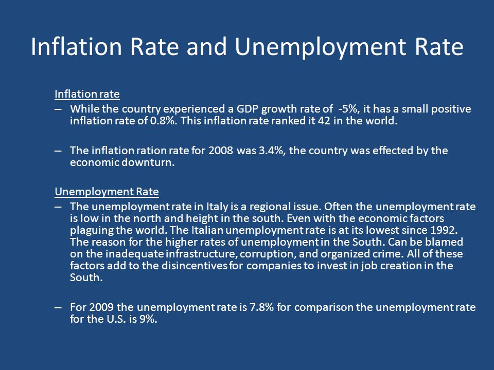 Inflation Rate and Unemployment Rate Inflation rate – While the country experienced a GDP growth rate of -5%, it has a small positive inflation rate o